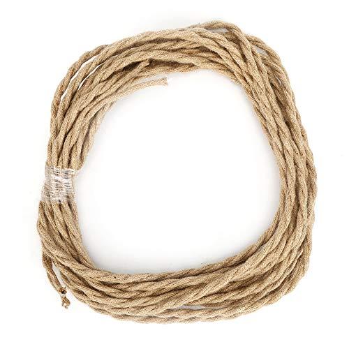 Cable eléctrico, cuerda de cáñamo vintage, par trenzado, cable eléctrico, accesorios de bricolaje para lámpara de araña(5米)