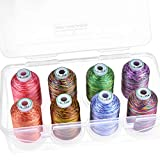 New brothread - 15 Options - 8 Snap Spools of 1000m Each Polyester Embroidery Machine Thread with Clear Plastic Storage Box for Embroidery & Quilting - Variegated Color1