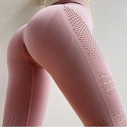 Leggings Fitness Frauen Leggings Nahtlose Hohe Taille Push Up Hollow Out Knöchellange Spandex Leggings Casual Solid Leggings L Pink