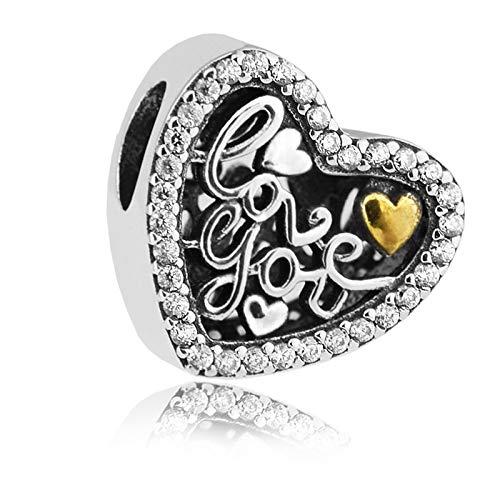Plata 925 Se Adapta A Pulseras Pandora Love Script Beads Con Dijes De Joyería Transparentes Regalo De Navidad Para Novia