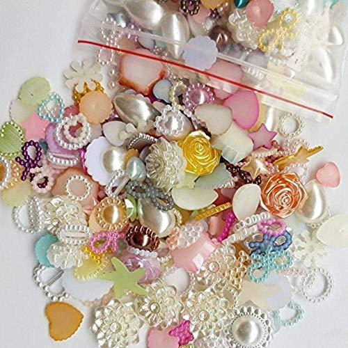 GJNVBDZSF DIY Beads 50/200pcs Random 4-20mm Half Round Pearls Seastar Bow Rose Rhinestone Flat Back Pearls Bead Loose Beads Gem,50PCS