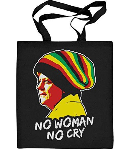 Shirtgeil Coole Jamaica Merkel in Reggae muts - No Woman No Cry jute zak katoenen tas