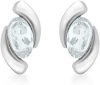 Damen-Ohrringe 9 Karat (375) Weißgold Aquamarin