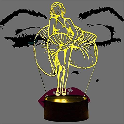 Marilyn Monroe Lámpara de noche de ilusión 3D Lámparas de lava para niños 16 colores regulables USB Powered Control táctil con control remoto, regalos creativos para niños de 10 años