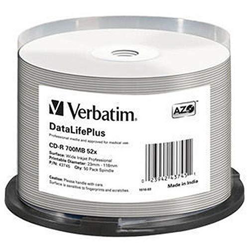 Verbatim CD-R 700MB - 52-fache Brenngeschwindigkeit - CD-Rohlinge - Groß Bedruckbar - DataLifePlus - 50-Stück Spindel