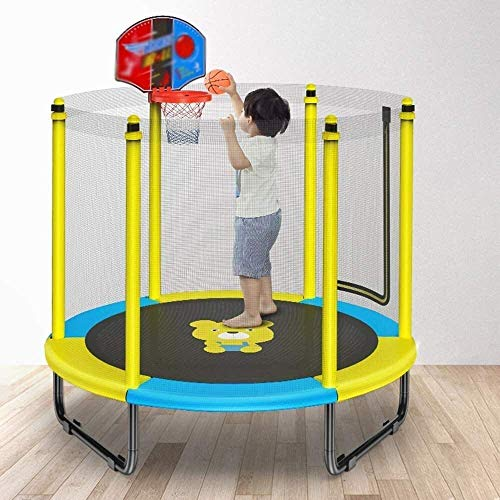 LuoMei Adults and Kids Trampolines Indoor Trampoline with Basketball Hoop Trampoline for Kids with Safety Enclosure Net Birthday Gifts for Kids 260Kg Loadyellow