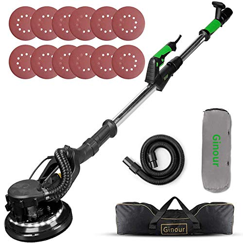 Drywall Sander, Ginour 6A Electric Drywall Sander with Automatic Vacuum System, 6 Variable Speed, LED Light, 6Pcs Sandpapers, 13ft Dust Hose, 15ft Power Cord, Extensible Handle