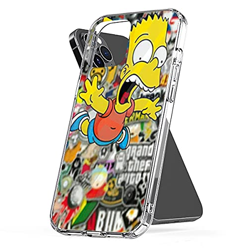 Phone Case Bart TPU Simpson Pc Waterproof Clear Funny Compatible for iPhone 6 6s 7 8 X Xs Xr 11 12 Se 2020 Pro Max Plus