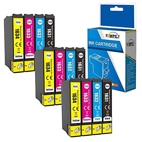 Fimpex Compatible Tinta Cartucho Reemplazo para Epson Workforce WF-2010W WF-2510WF WF-2520NF WF-2530WF WF-2540WF WF-2630WF WF-2650DWF WF-2660DWF WF-2750DWF WF-2760DWF 16XL (B/C/M/Y 12-Pack)