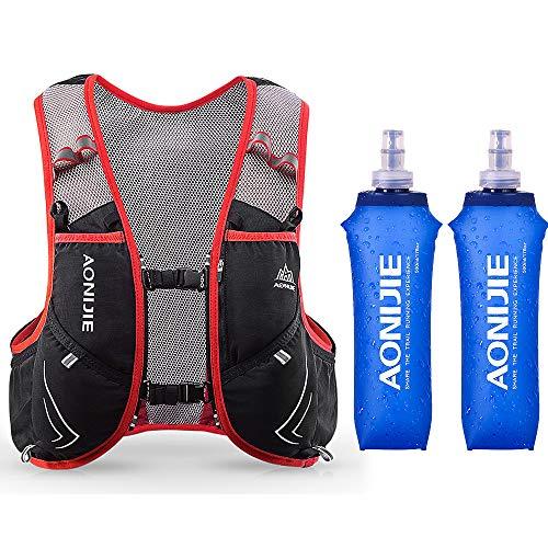 Lixada 5L Vejiga de Agua Mochila, Mochila Hidratación, Running Mochila, Impermeable y Transpirable, para Camping, Marathoner, Correr, Caminar, Escalada, Actividades al Aire Libre (M-L+2pcs 500ml)