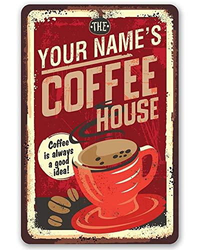 ZMKDLL Letrero retro de hojalata – Coffee House – Gran decoración para cocina y cafetería al aire libre interior panel de pared retro vintage mural tamaño 30.5 x 40.6 cm