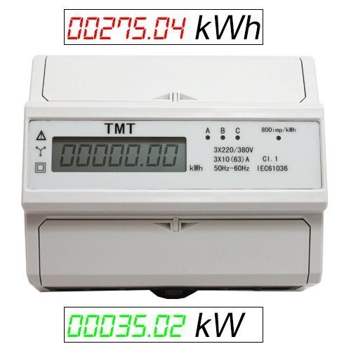 Drehstromzähler Verbrauch (kWh) & Leistung (kW) Stromzähler Starkstrom Zwischenzähler 380/400V digital DIN-Hutschiene ZS4
