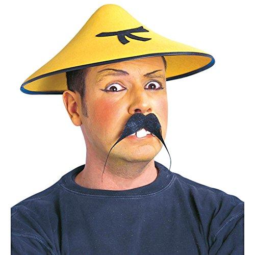Amakando China Hut Chinesische Kopfbedeckung gelb Reispflücker Chinahut Asiatischer Sonnenhut Bambushut Chinesenhut Fasching Mütze Asia Mottoparty Accessoire Karneval Kostüm Zubehör