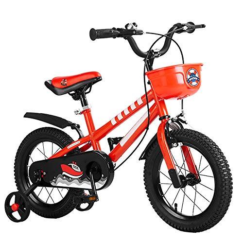 Yummeige Kinderfiets voor meisjes en jongens, 12 x 16 inch, kinderzitje/stuur, in hoogte verstelbaar, kinderfiets met wieltjes 14in Rood