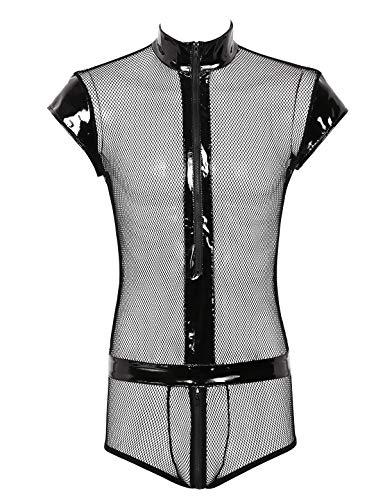 YOOJIA Herren Unterhemd Netz Body Overall Transparent Netzhemd Männer Erotik Dessous Wetlook Reizwäsche Boxershorts mit Reißverschluss Schritt Schwarz XX-Large