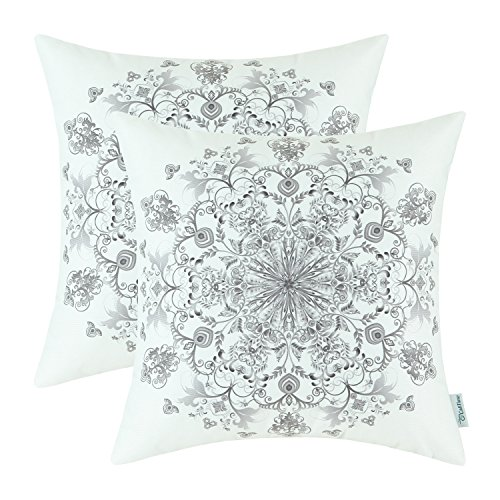CaliTime Pack of 2 Cozy Fleece Throw Pillow Cases Covers for Couch Bed Sofa Vintage Mandala Snowflake Floral 18 X 18 Inches Grey