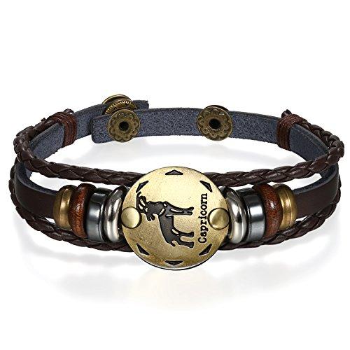 JewelryWe Pulseras del Horóscopo Zodiaco Capricornio, Retro Vintage Brazalete de Hombre Mujer, Marron Dorado Simbolo de Estrellas de Buena Suerte, Buen San Valentin