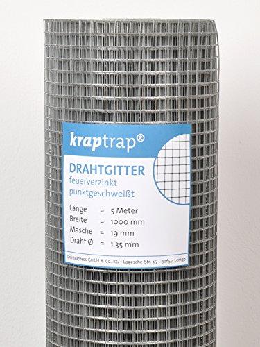 kraptrap® Volierendraht Drahtgitter 19x19mm Masche 5m Länge, 100cm Breite (1m x 5m)