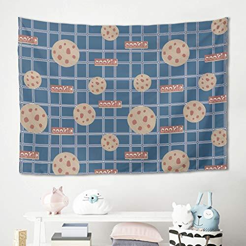 Gamoii Tapiz de pared para comer galletas, diseño de cuadros azules, para picnic, playa, yoga, meditación, decoración, funda para sofá blanca, 200 x 150 cm