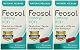 Feosol Carbonyl Iron Supplement Caplets Natural Release 60 Caplets (Pack of 3)