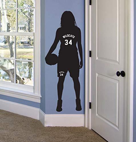 Ajcwhml Basketball Mädchen personalisierte Name Nummer Wandtattoo abnehmbare benutzerdefinierte Basketball Team Name Wandaufkleber für Kinderzimmer 33x92cm