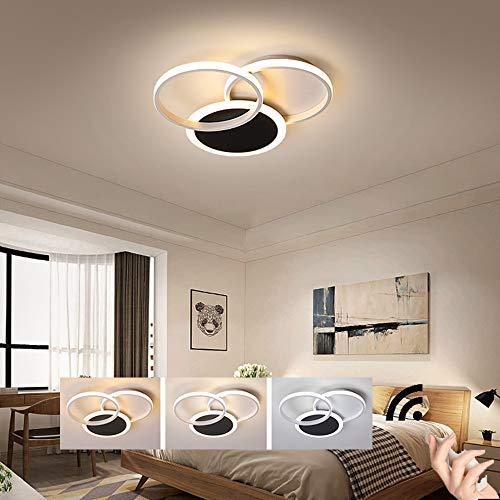 HIL LED Plafondlamp Modern,Woonkamer lamp Dimbaar met afstandsbediening Zwart wit Ring Design plafondlamp Minimalisme Metaal Acrylzuur Verlichting Slaapkamer Keuken Restaurantverlichting,55 * 8cm/45w