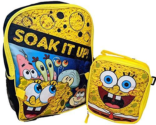 Spongebob Cartoon School 16' Backpack Bookbag with Insulated Lunch Box Set...