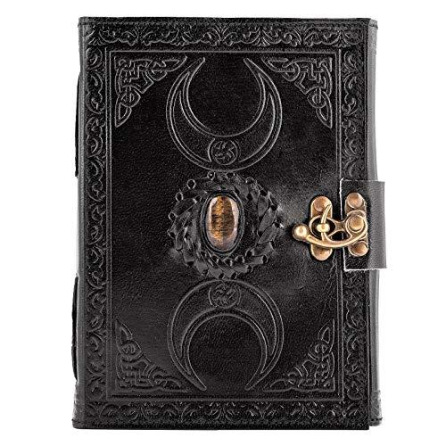 Libro de sombras de cuero urbano negro – Diario de bala celta de 3 lunas, ojo de tigre tachonado – Cuaderno de escritura vintage para dibujo cuaderno de bocetos, organizador personal, sin forro