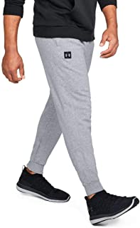 Under Armour Men's Rival Fleece Jogger Warm Ups, (Steel Light Heather/Black), X-Large