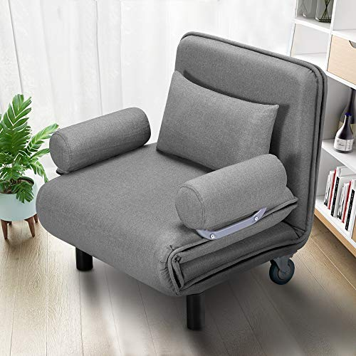 HOMHUM Convertible Sofa Bed Sleeper Chair Folding 5 Position Arm Chair Sleeper w/Pillow, Upholstered Seat, Wheel Design, Leisure Chaise Lounge Couch for Home Office (Gray)