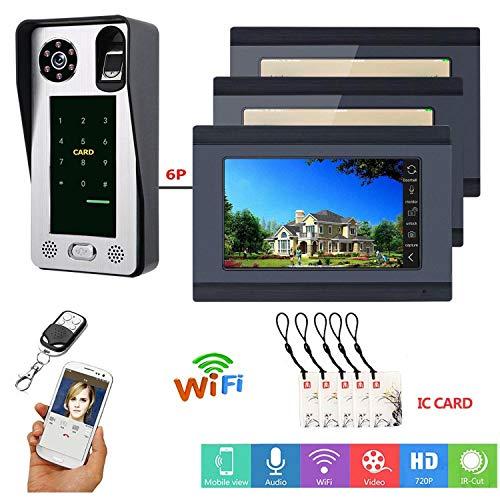 7inch Bedraad WiFi Video Deur Telefoon Deurbel Intercom Systeem met 3 Monitoren Deur View cam Deur Viewer,Ondersteuning Afstandsbediening APP Ontgrendelen, Opnemen, Snapshot