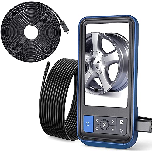 Teslong Inspection Camera, 1080P HD Industrial Endoscope 8mm Borescope, 16.4 ft & 31 ft Dual Lens Cable, 6 LED Lights, 4.5 Inches Display Screen, 32 GB Card, IP67 Waterproof, Travel Case