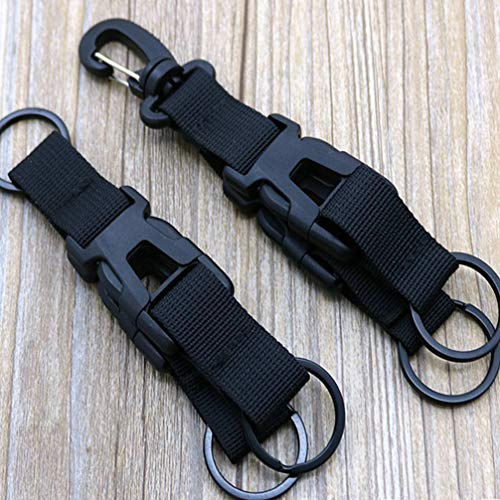 FAVOMOTO 2 Pcs Nylon Keychain Buckle Detachable Multifunction Backpack Keyring Gear Carabiner Clip for Outdoor Mountain Climbing Camping Hiking (Black)
