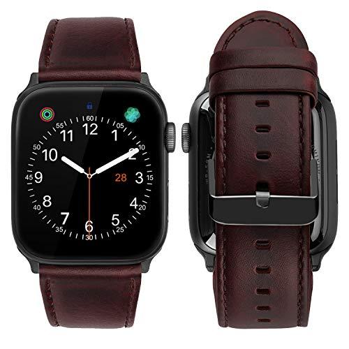 iBazal-banden compatibel met iWatch-serie 5 4 3 2 1 riemen 44 mm 42 mm lederen polsbandjes horlogeband vervangende armbanden riem heren polsbandjes met zwarte adapters - uniek roodbruin 42 mm / 44 mm