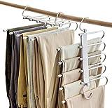 2 Piezas de Perchas para Pantalones Perchero de Acero Inoxidable Pesado para Pantalones Bufandas Vaqueros (con Protector Antideslizante)