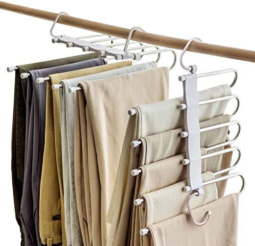 2 Piezas de Perchas para Pantalones Perchero de Acero Inoxidable Pesado para Pantalones Bufandas Vaqueros (con Protector...
