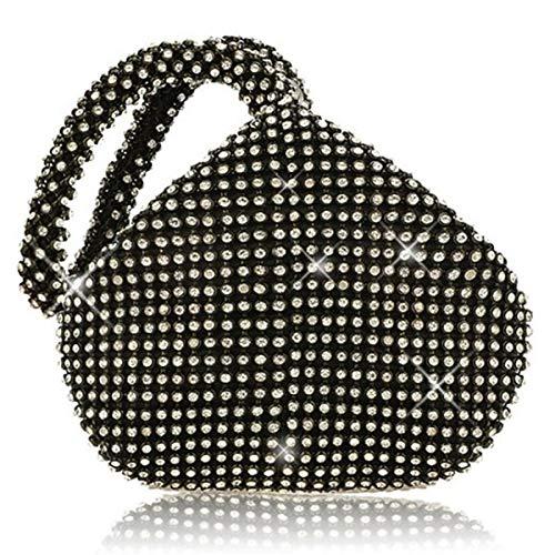 Alifyt Modische Damen-Abend-Clutchs, glitzernde Mini-Handtasche mit Glitzersteinen, in Beutelform, Schwarz - Schwarz - Größe: Small