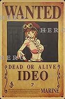 海賊アニメIDEO さびた錫のサインヴィンテージアルミニウムプラークアートポスター装飾面白い鉄の絵の個性安全標識警告バースクールカフェガレージの寝室に適しています