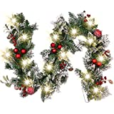 Valery Madelyn 6ft/183cm Pre-Lit Christmas Garland, Red and White 20 LED Lights with 8 Modes, Includes Baubles & Berries Ornaments, Christmas Decoration for Mantel Window Frame(Traditional)
