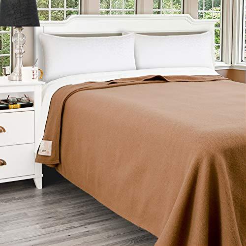 Poyet Motte Antibes 350GSM 100-Percent Wool Medium Weight Oversized Blanket, Machine Washable (Camel, Full/Queen Size)