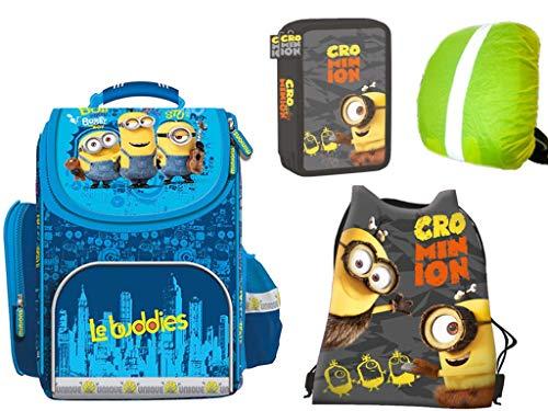 Minions Schulranzen 0.9 kg Rucksack, gefüllte Federmappe, Sportbeutel, Regenschtz 4-teiliges Set