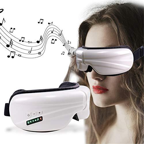 Masajeador De Ojos Eléctrico con Vibración De Compresión Térmica Y Música Bluetooth. Masajeador De Ojos Inalámbrico Puede Aliviar La Fatiga Ocular Ojos Secos Dolor De Cabeza,Blanco