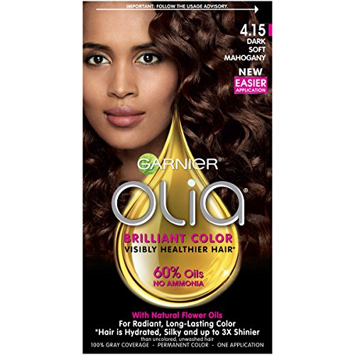 Garnier Olia Ammonia Free Permanent Hair Color, 100 Percent Gray Coverage (Packaging May Vary), 4.15 Dark Soft Mahogany, Brown Hair Dye Pack of 1