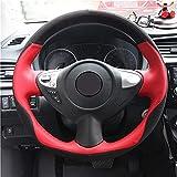 SAXTZDS Cubierta de Volante de Gamuza Negra de Cuero Rojo, para Infiniti FX FX35 FX37 FX50 Nissan Juke Maxima 2009-2014