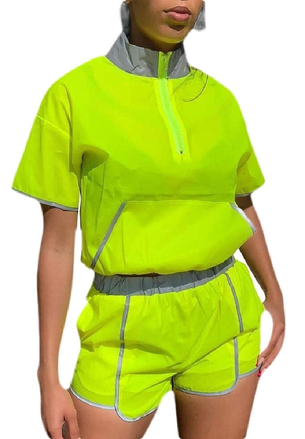ヘルパー肯定的調整Women Two Piece Tracksuit Sexy Windbreaker Pullover Crop Top Shorts