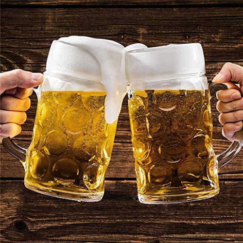 KANCK Taza de Gafas de Cerveza 1000ml Taza de Cerveza Gruesa de Gran Capacidad Taza de Cristal de Cristal de Cristal Transparente con Mango para la casa de la Barra del Club (Capacity : 1000ML)