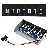 Hub Pannello Frontale USB 3.0, Scheda di espansione Computer da 5,25 Pollici a 7 Porte per Scanner/Macchina da Scrivere/Fotocamera Digitale/Altoparlante/Mouse
