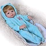 Reborn Dolls Boy, 22 Pulgadas, 57 cm, auténtica muñeca para niños pequeños, Vinilo Completo, Realista, niña con Pelo Dorado, imán, Chupete, Juguete para niños, Azul Baden