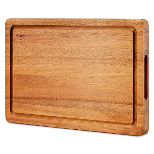 SKY LIGHT Schneidebrett Holz Premium Dickes Hackbrett aus Akazienholz antiseptisches Holz-Brett Mit Saftrille 38x25x2.5cm Langlebig Brotbrett, Küchen-bretter, Frühstücksbrettchen und Servierbretter