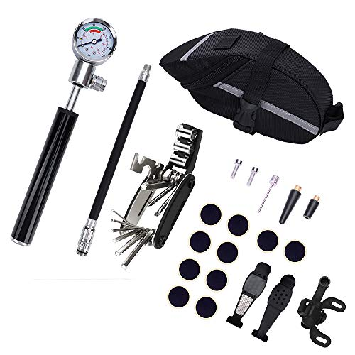 N\A Kit de Herramientas de reparación de neumáticos de Bicicleta, Bomba de neumáticos portátil con medidor de presión Mini de 210 PSI 210 PSI, Herramienta de reparación de Destornillador 16 en 1